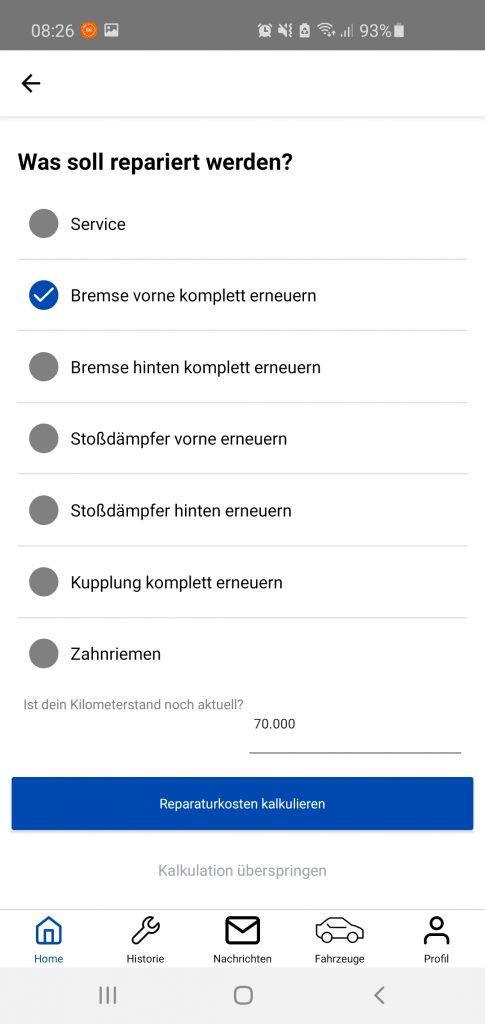 cartelligence App Screen Ccalculate repair costs