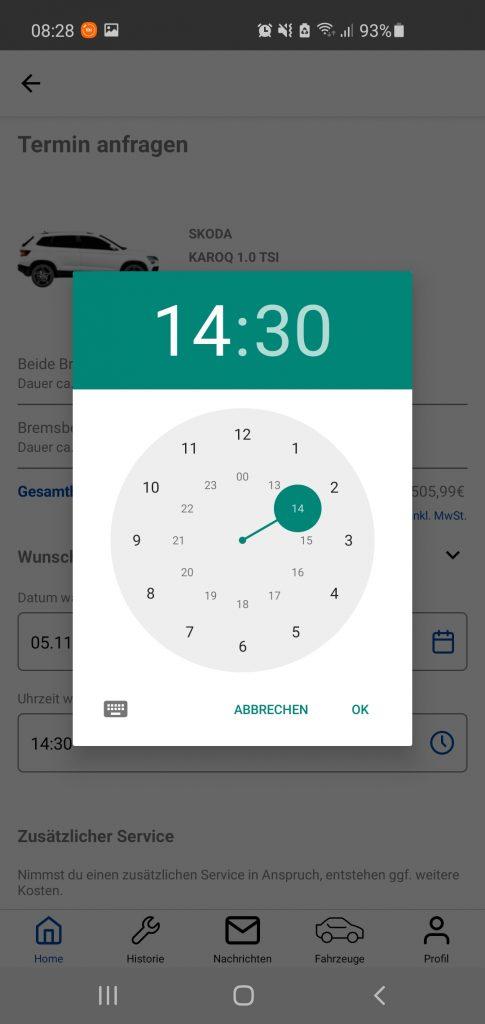cartelligence App Screen select date