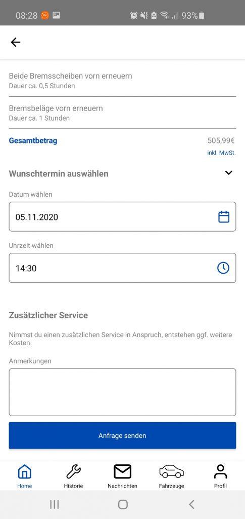 cartelligence App Screen send enquiry